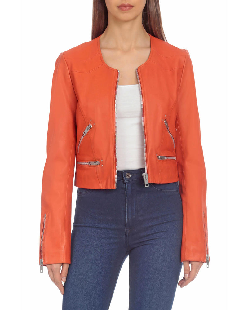 Cropped Leather Moto Outerwear Bagatelle XS Orange
