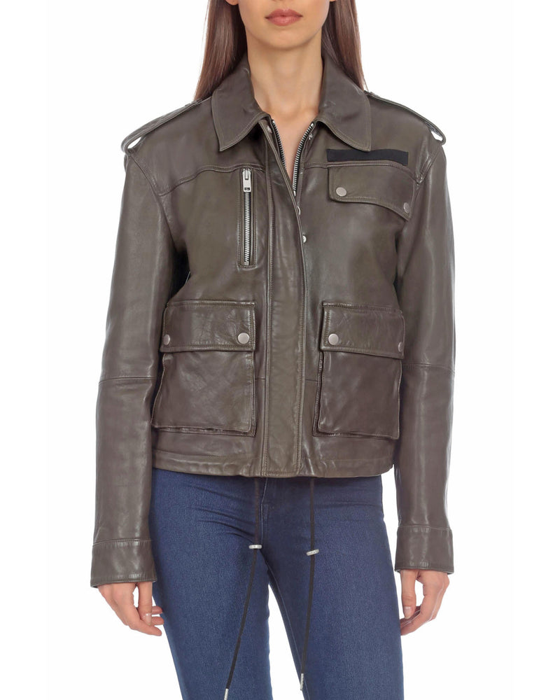 Avec Les Filles x BAGATELLE.NYC BAGATELLE.NYC Lamb Leather Army Jacket