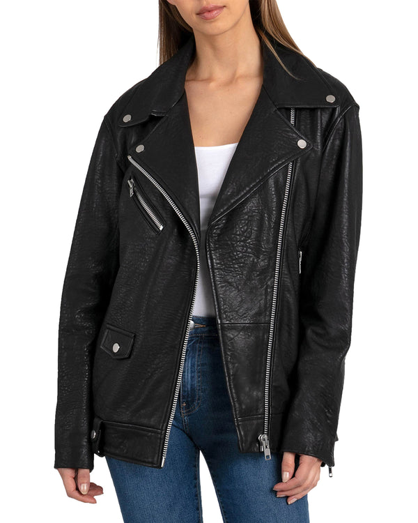 Oversized Leather Biker Outerwear Bagatelle XS Black