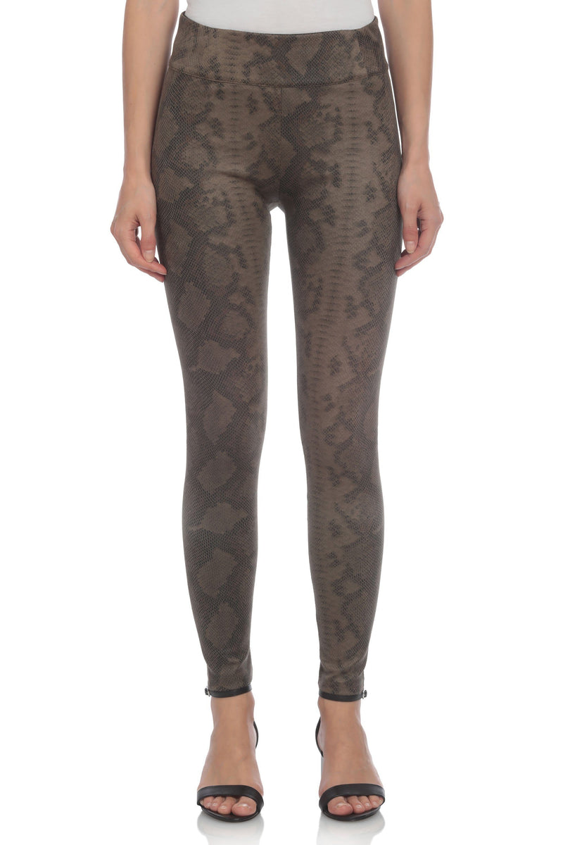 Faux Suede Python Legging Bottoms Bagatelle XS Olive
