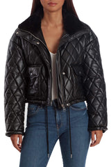 Cropped Quilted Faux Leather Puffer Outerwear Bagatelle XS Black