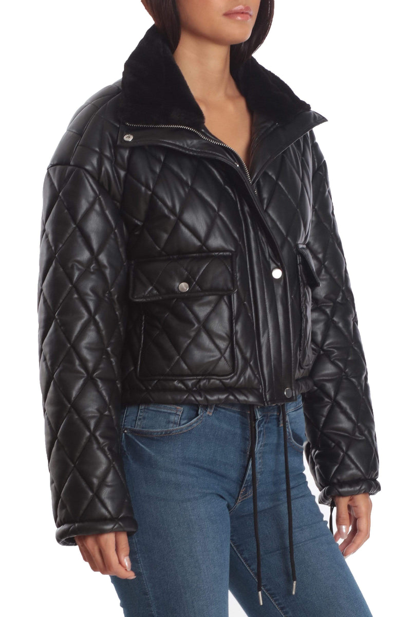 Avec Les Filles x BAGATELLE.NYC BAGATELLE.NYC Cropped Quilted Faux Leather Puffer