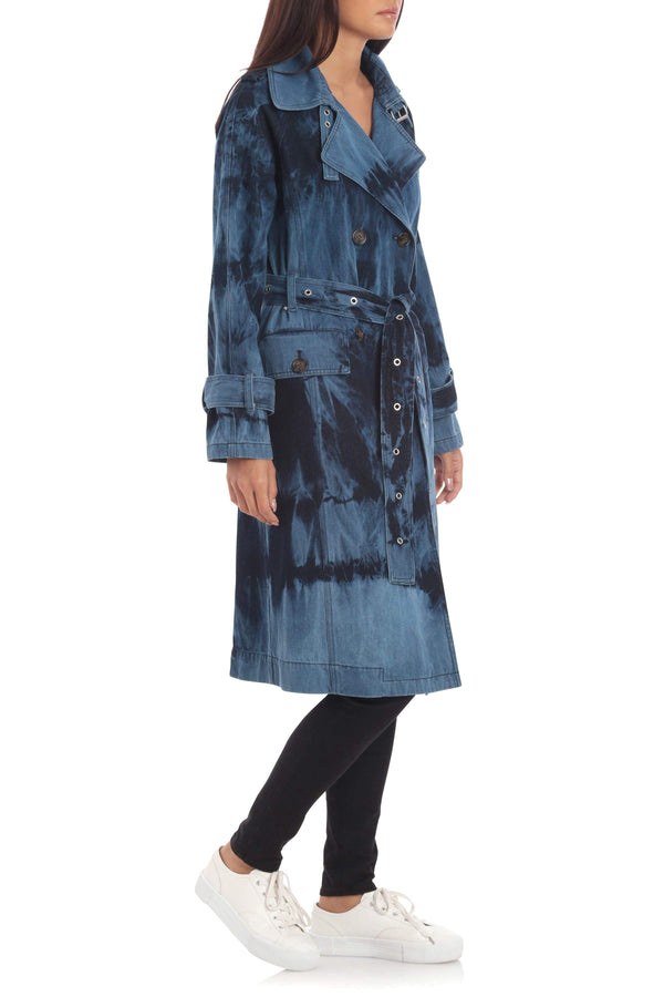 Cotton Tie-Dye Trench