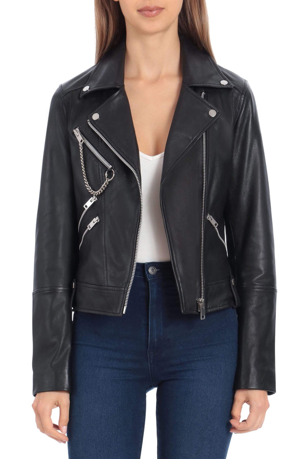 Lamb Leather Hardware Biker Outerwear Avec Les Filles XS Black