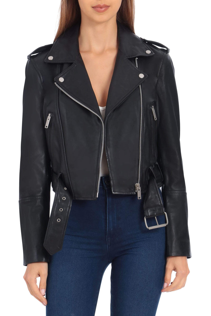 Lamb Leather Cropped Biker