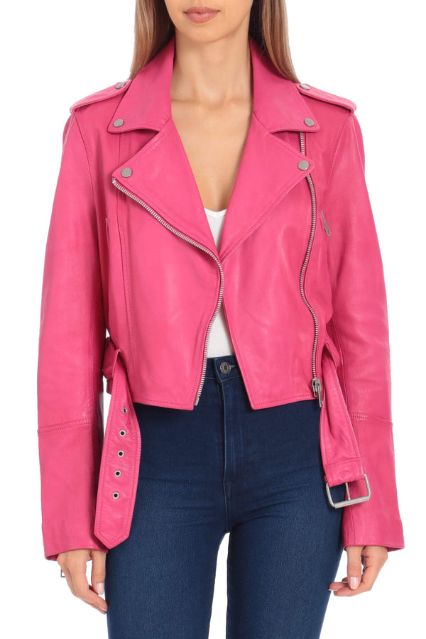 Lamb Leather Cropped Biker Outerwear Avec Les Filles XS Hot Pink
