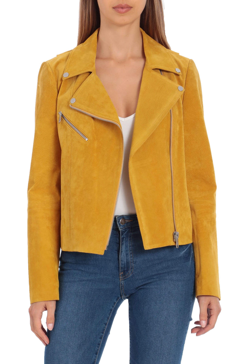 Genuine Suede Biker Outerwear Bagatelle XS Honey
