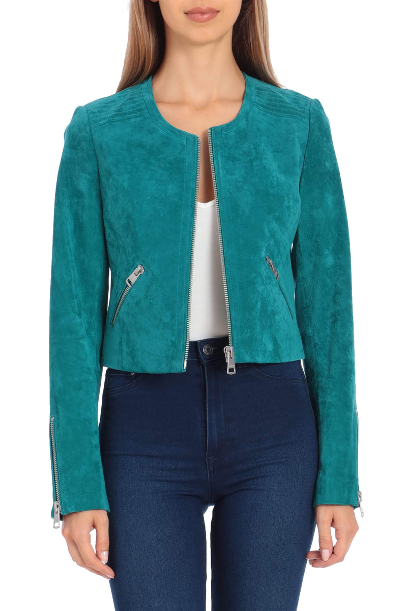 Cropped Genuine Suede Moto Outerwear Bagatelle XS Jade