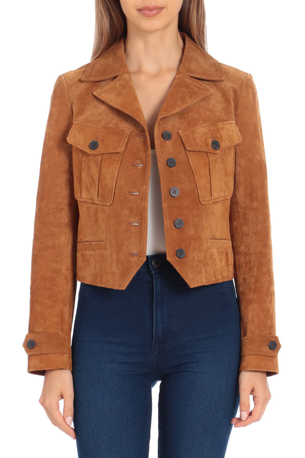 Genuine Suede Western Jacket Outerwear Avec Les Filles XS Whiskey