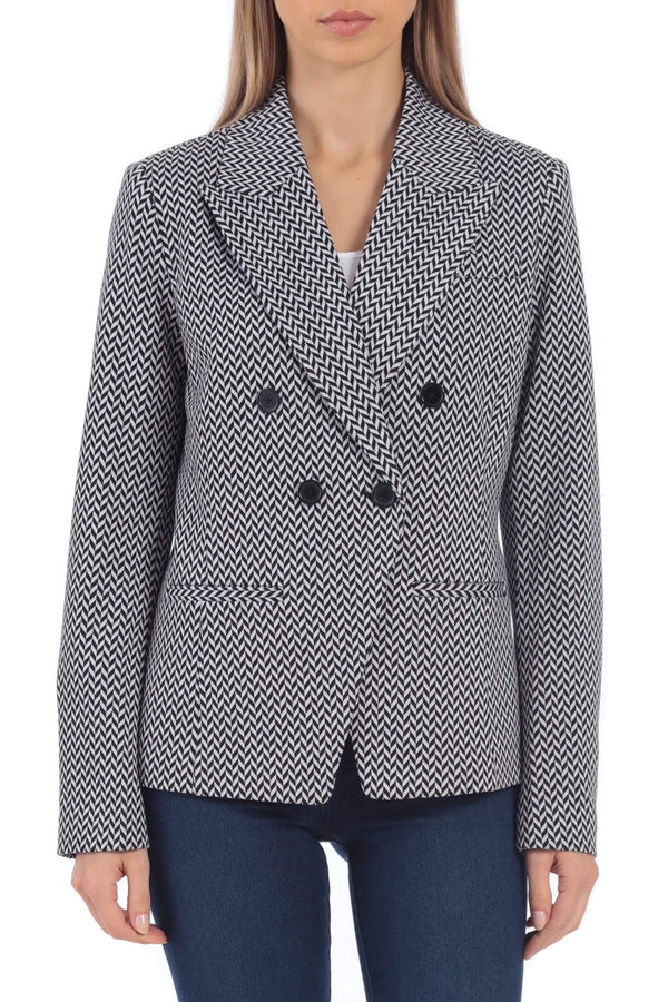 Ponte Double-Breasted Blazer Outerwear Bagatelle S Herringbone