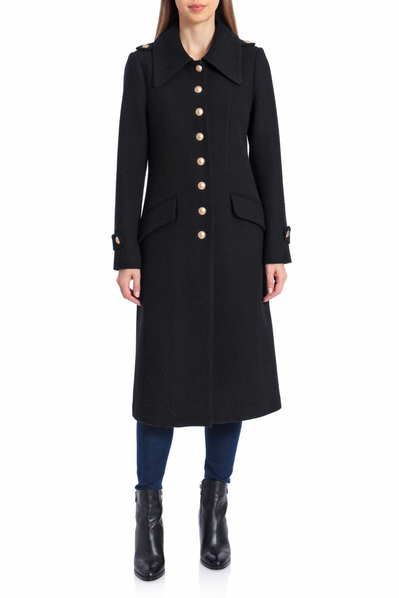 Wool Military Button Coat Outerwear Avec Les Filles 2XL Black