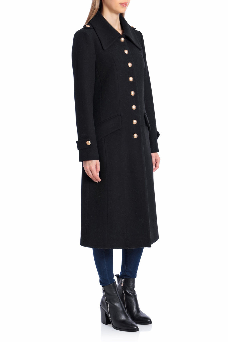 Wool Military Button Coat Outerwear Avec Les Filles