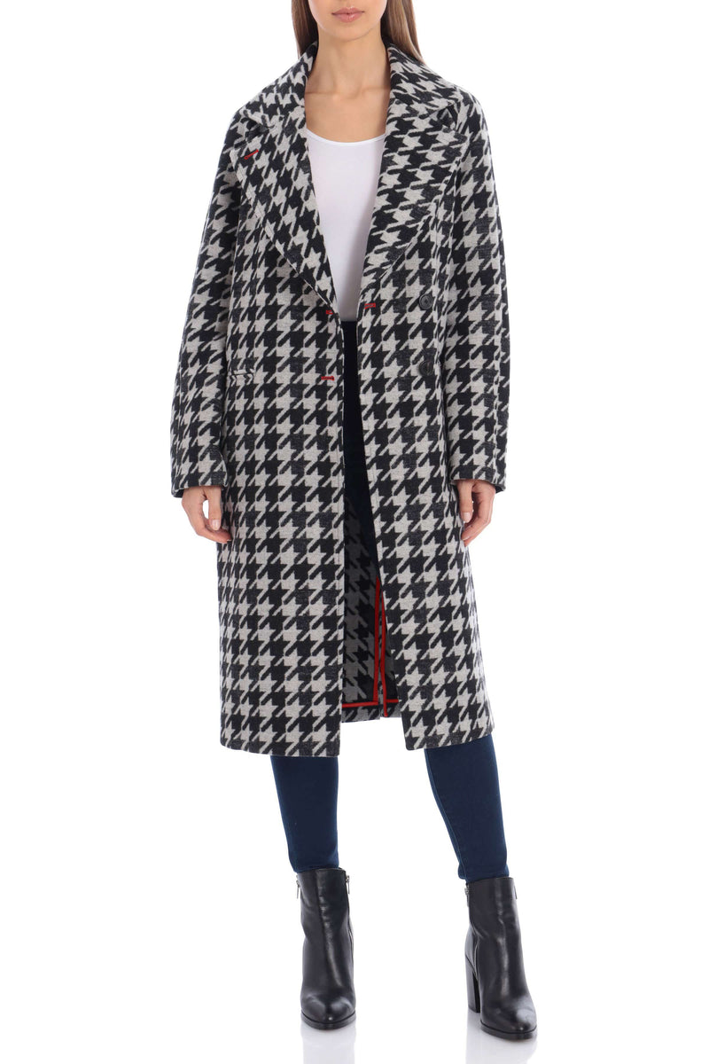 Houndstooth Double Face Wool Blend Coat Outerwear Avec Les Filles XXL Black/Gray