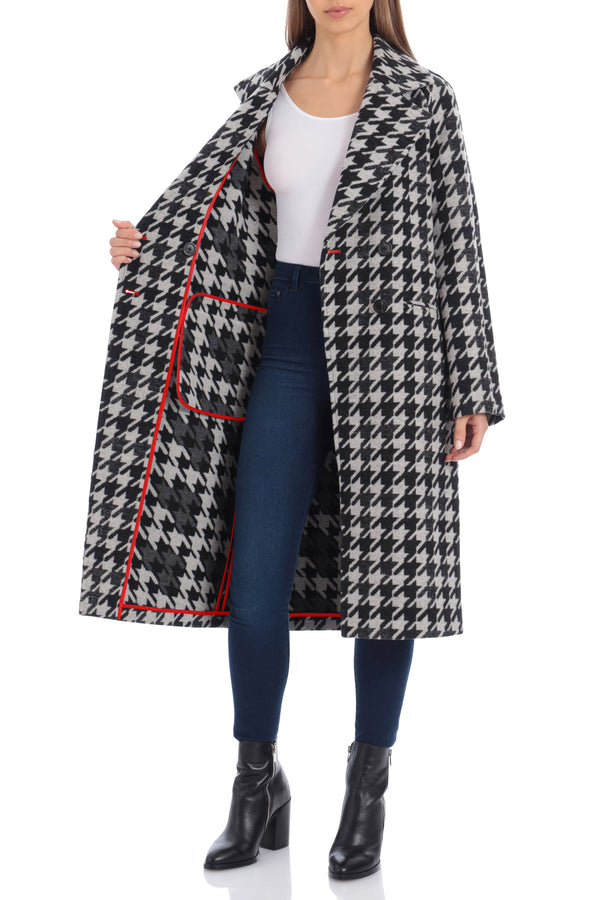 Houndstooth Double Face Wool Blend Coat