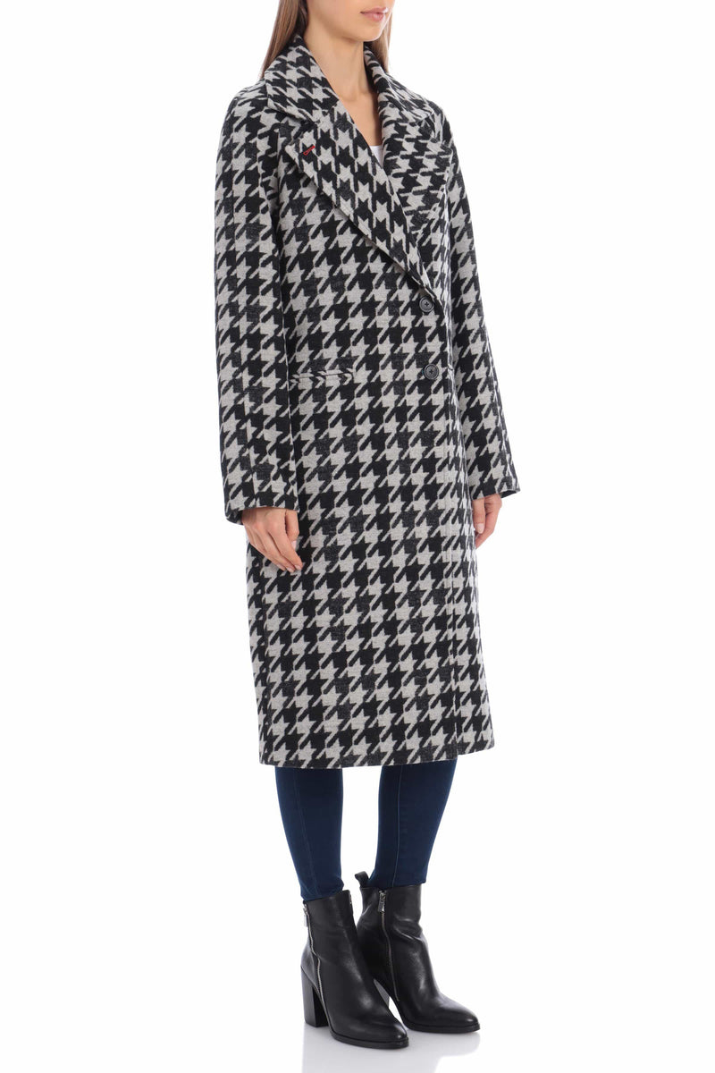 Houndstooth Double Face Wool Blend Coat Outerwear Avec Les Filles