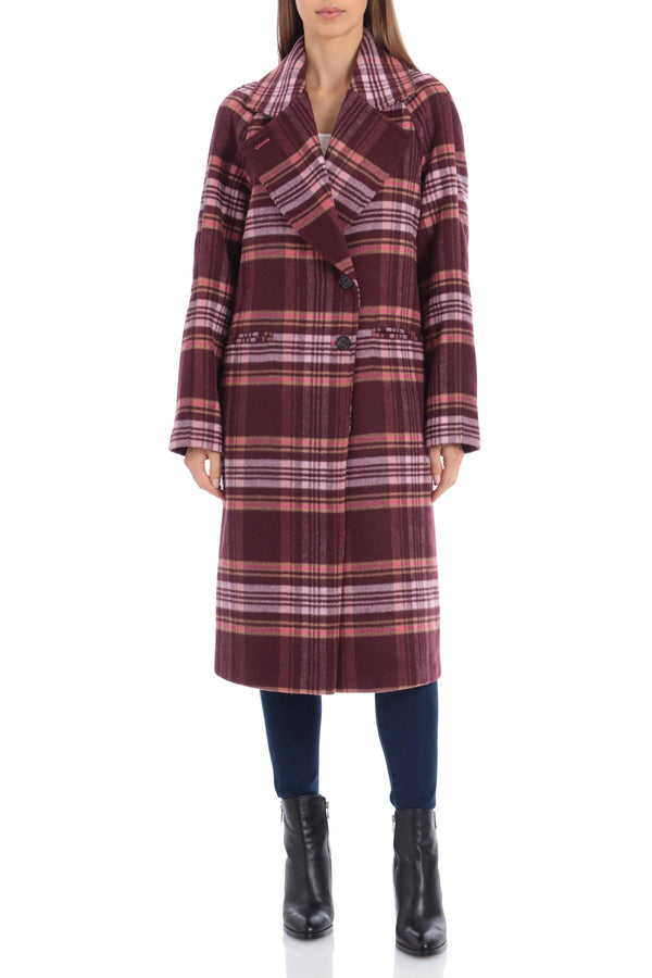 Plaid Double Face Wool Blend Coat