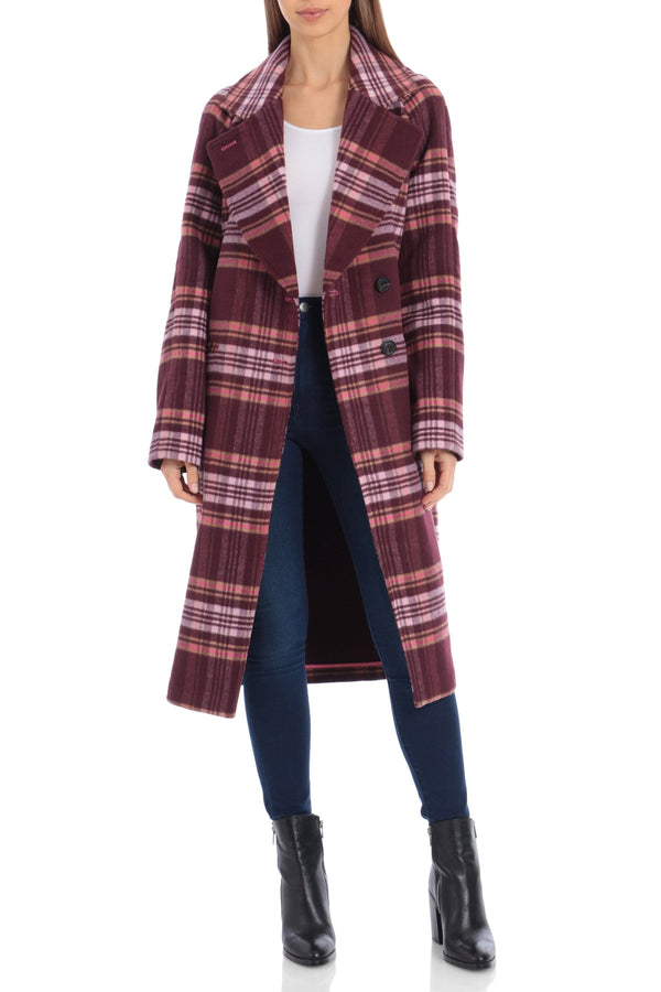 Plaid Double Face Wool Blend Coat Outerwear Avec Les Filles