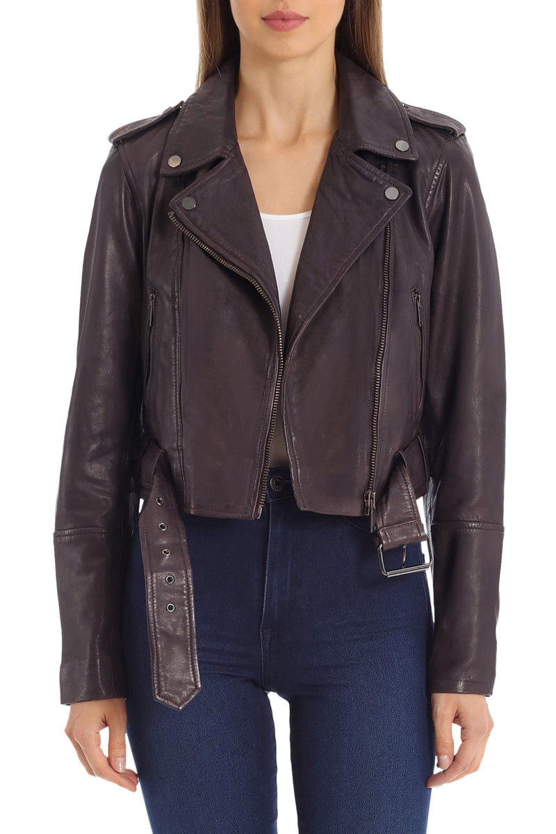 Cropped Lamb Leather Belted Biker Outerwear Avec Les Filles Black Cherry L