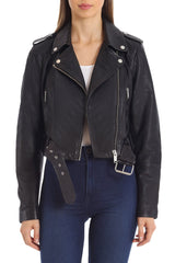 Cropped Lamb Leather Belted Biker Outerwear Avec Les Filles Onyx L