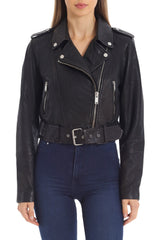 Cropped Lamb Leather Belted Biker Outerwear Avec Les Filles