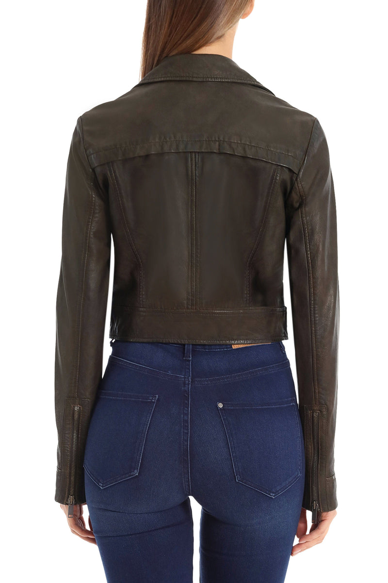 Cropped Lamb Leather Trucker Outerwear Avec Les Filles