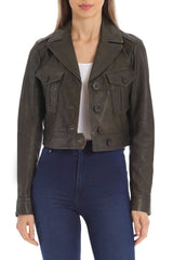 Cropped Lamb Leather Trucker Outerwear Avec Les Filles Military L