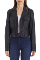 Cropped Lamb Leather Trucker Outerwear Avec Les Filles Onyx L