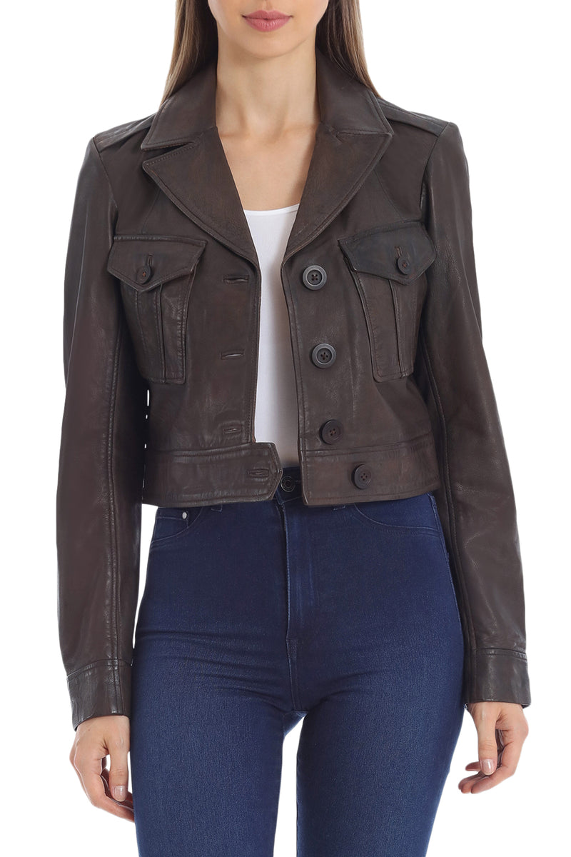 Cropped Lamb Leather Trucker Outerwear Avec Les Filles Vintage Brown L