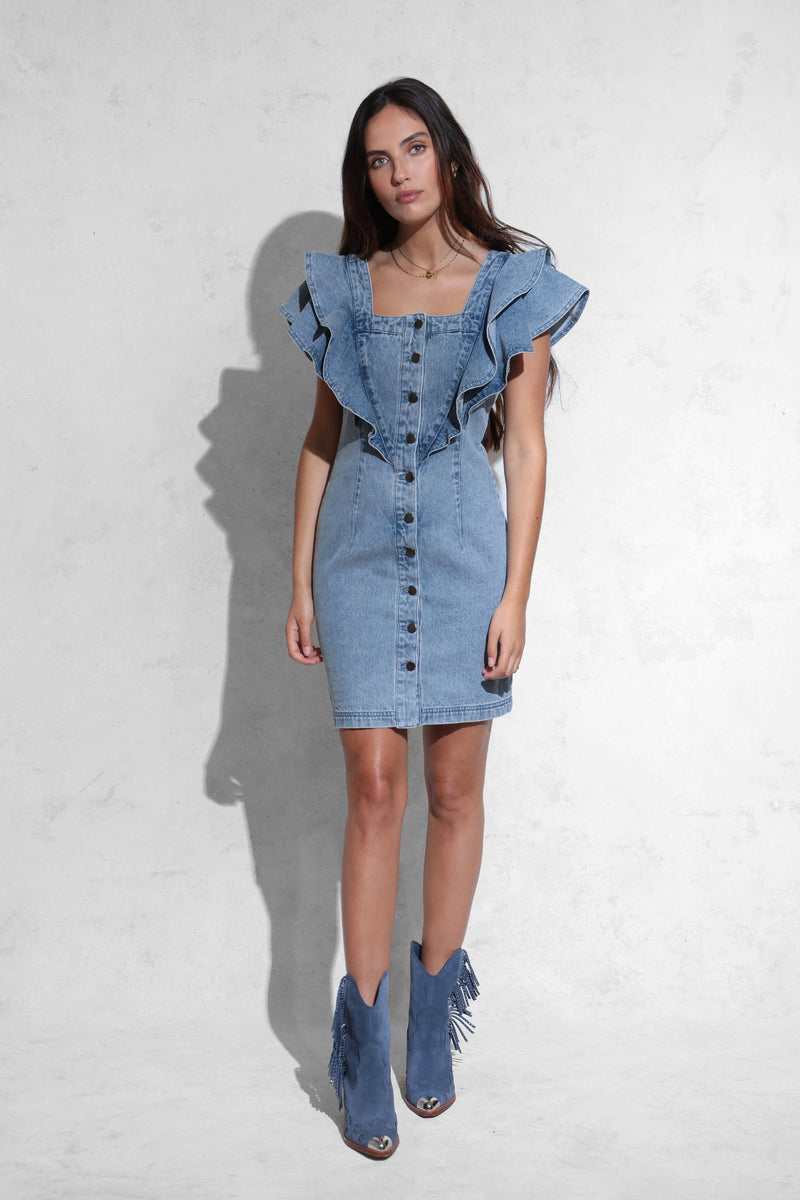 Denim Ruffle Shoulder Mini Dress Dresses Avec Les Filles
