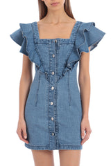 Denim Ruffle Shoulder Mini Dress Dresses Avec Les Filles Vintage Wash L