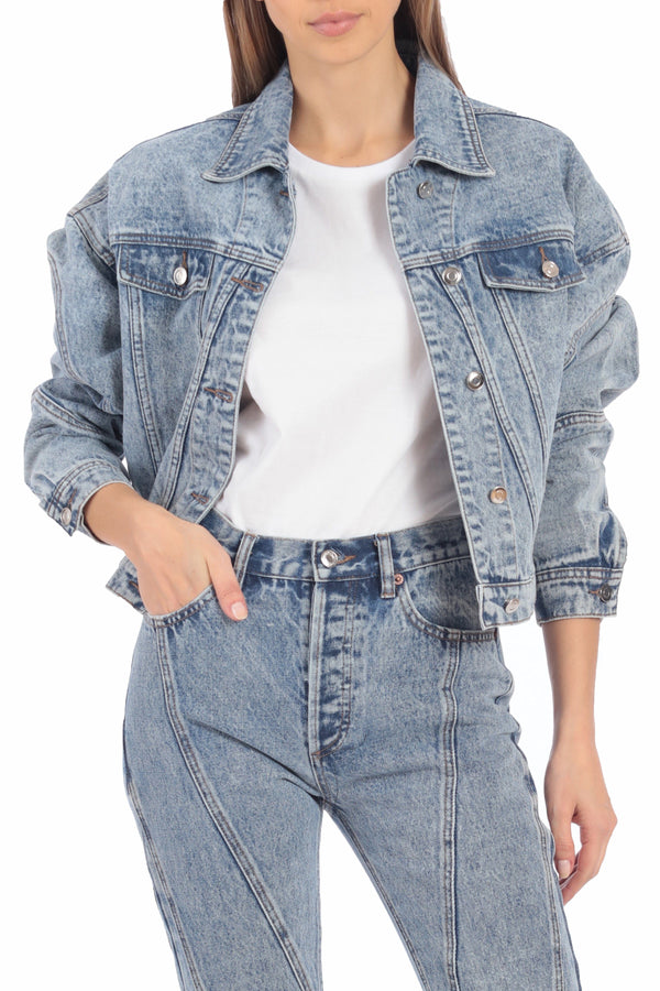 Acid Wash Cropped Denim Trucker Outerwear Avec Les Filles Retro Wash L