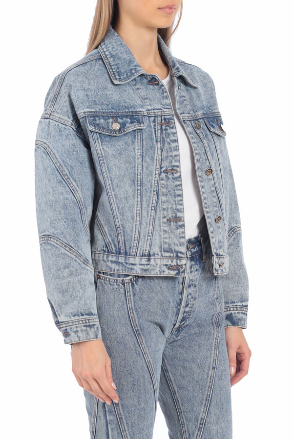 Acid Wash Cropped Denim Trucker Outerwear Avec Les Filles