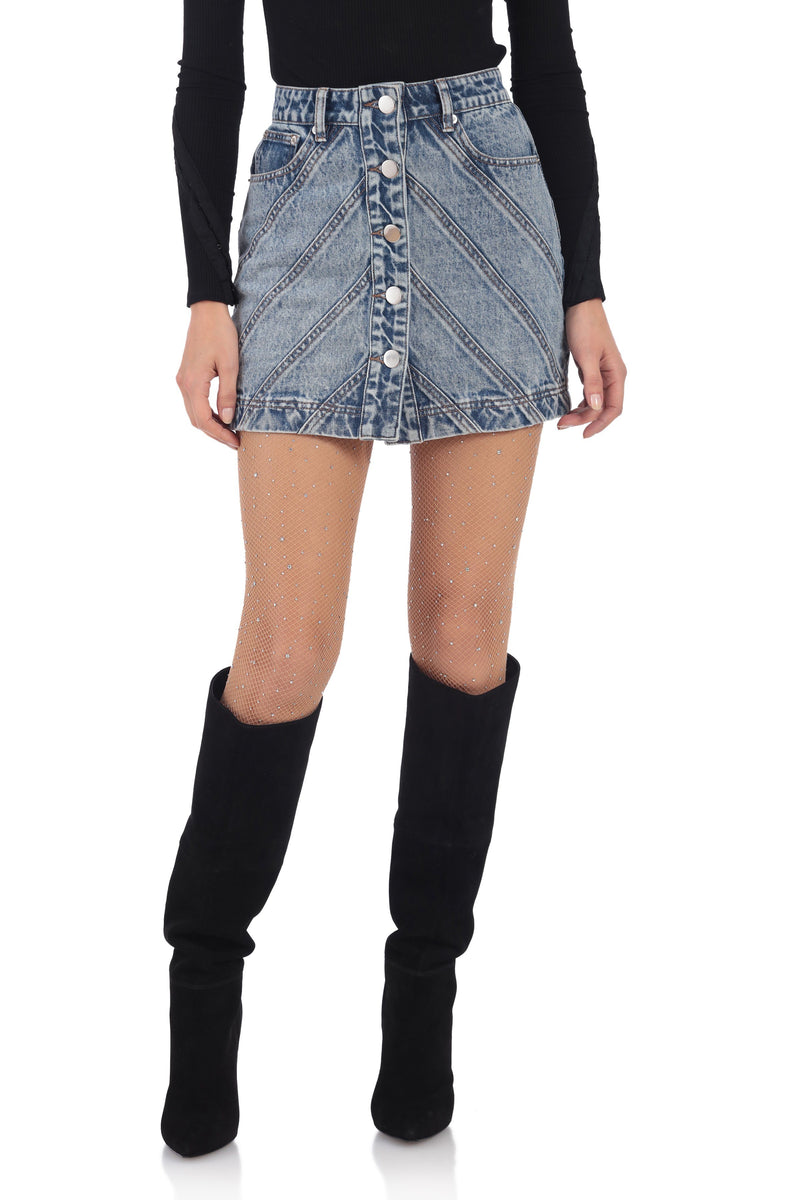 Button-Front Denim Mini Skirt Bottoms Avec Les Filles Retro Wash L