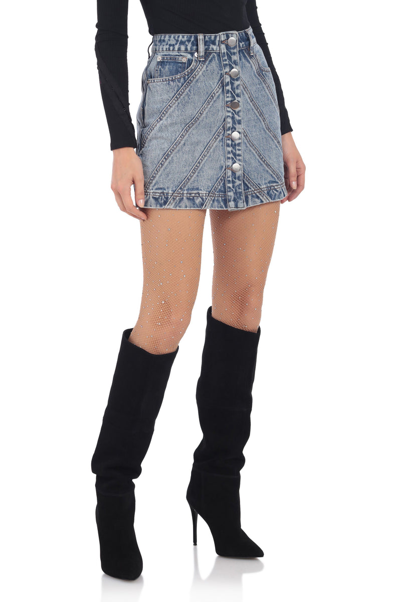 Button-Front Denim Mini Skirt Bottoms Avec Les Filles