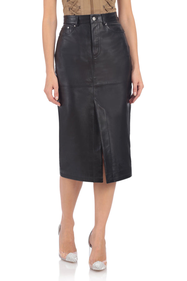 Vegan Leather Pencil Skirt Bottoms Avec Les Filles Onyx L