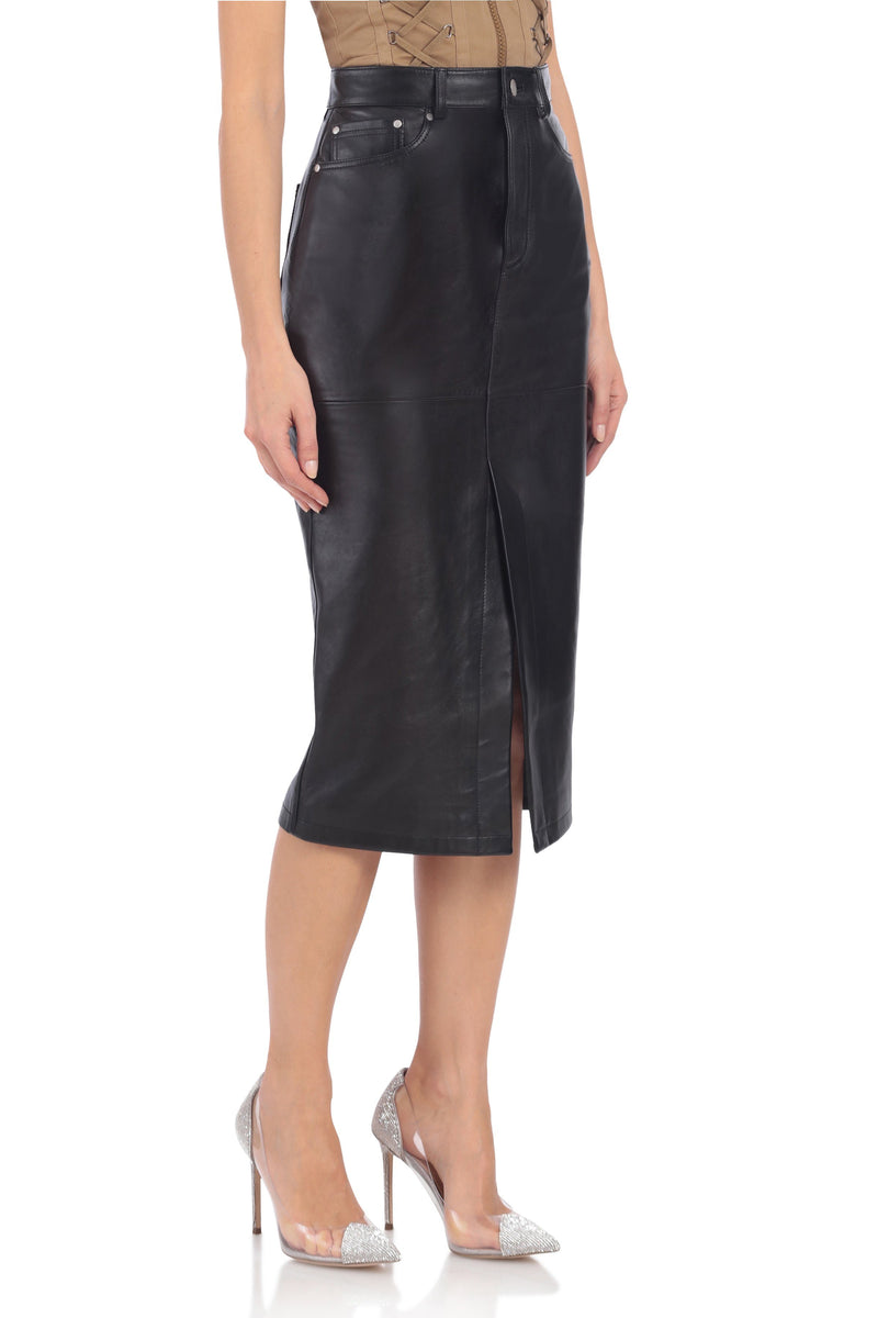 Vegan Leather Pencil Skirt Bottoms Avec Les Filles