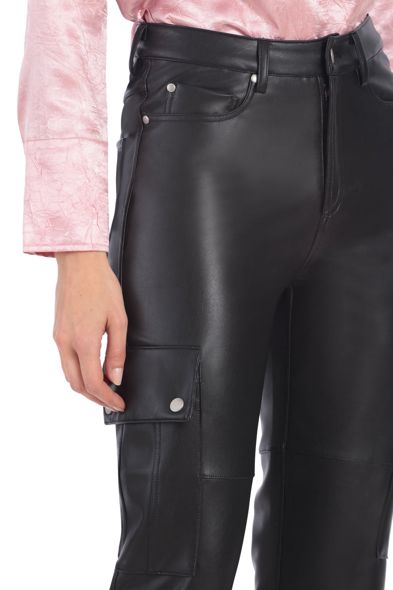 Vegan Leather Cargo Pants Bottoms Avec Les Filles