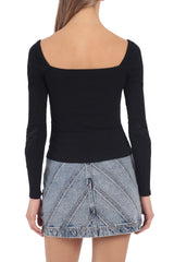 Square Neck Rib Knit Top