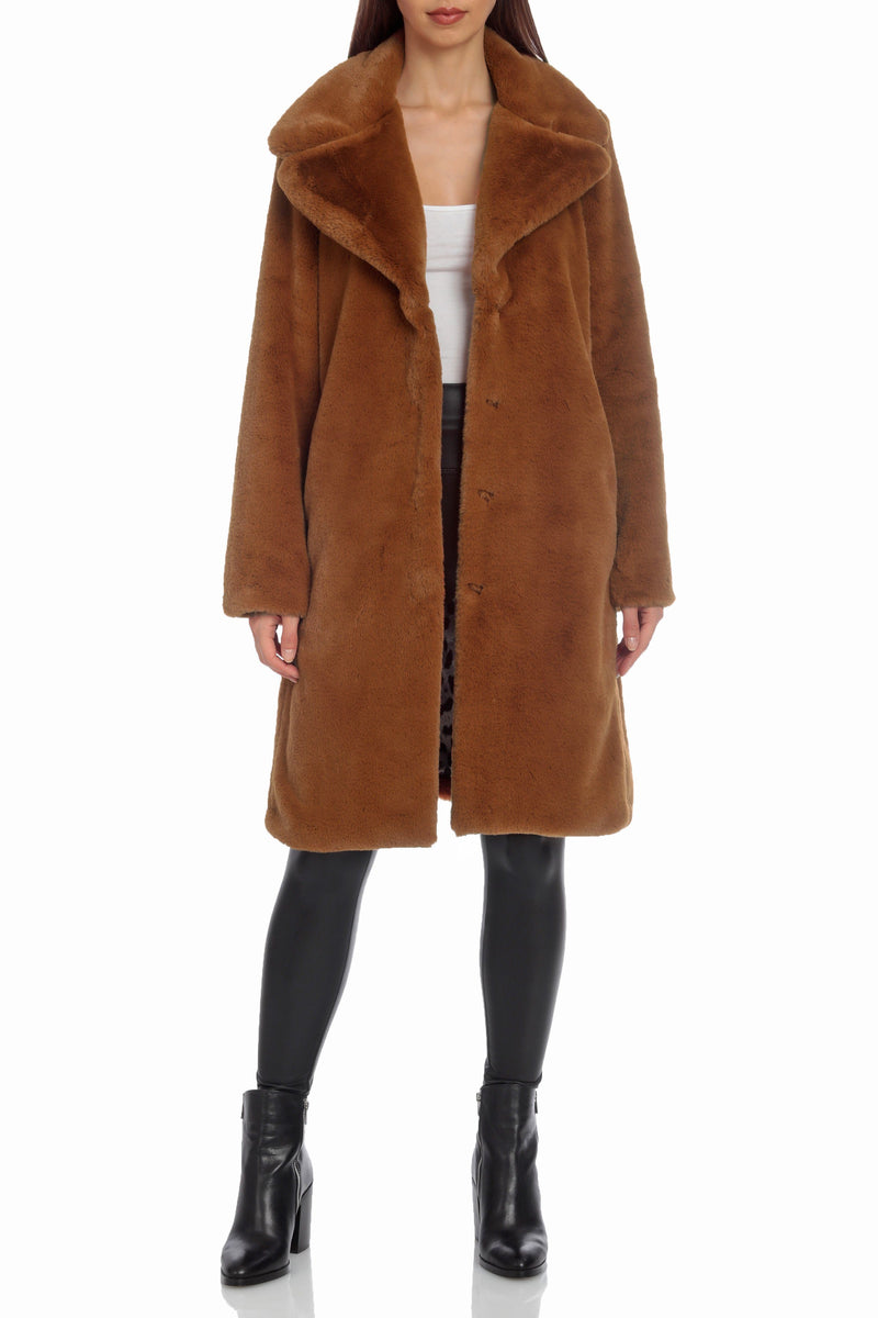 Notch Collar Faux Fur Coat Outerwear Avec Les Filles Brown XS