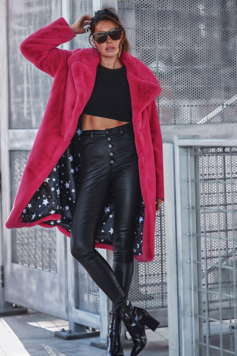 Notch Collar Faux Fur Coat Outerwear Avec Les Filles Hot Pink XS