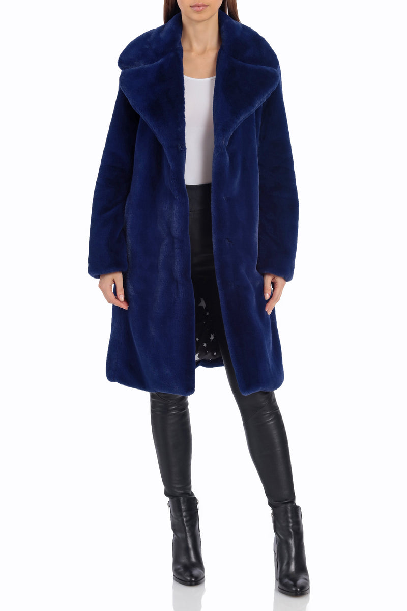 Notch Collar Faux Fur Coat Outerwear Avec Les Filles Ultra Navy XS