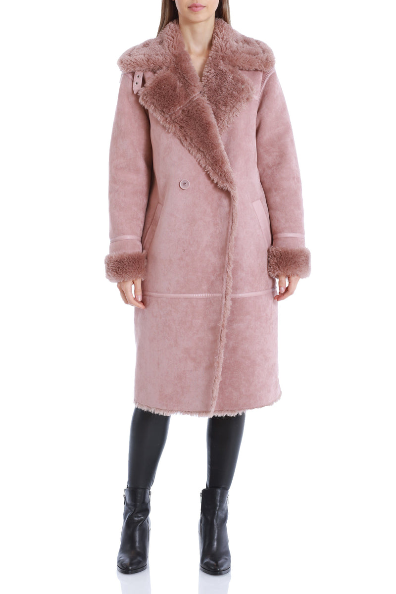Double-Breasted Faux Shearling Coat Outerwear Avec Les Filles Rose Taupe XS