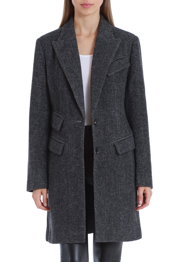 Twill Wool Blend Topper Coat Outerwear Avec Les Filles Charcoal 2XL