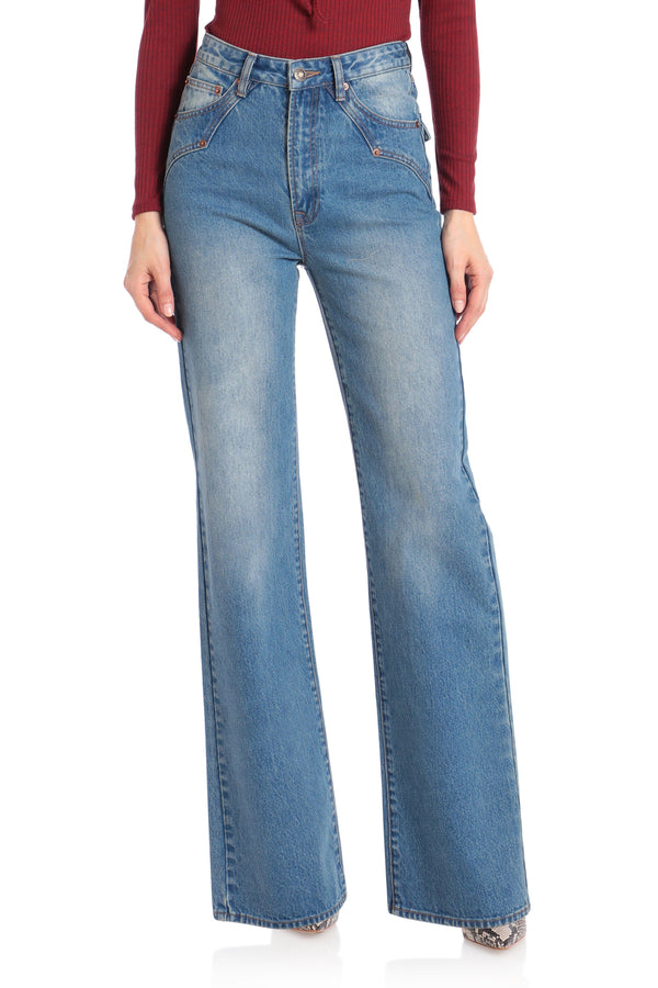 High-Rise Wide-Leg Jeans Bottoms Avec Les Filles 24 Sedona Blue