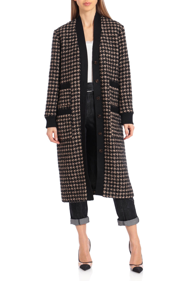 Houndstooth Wool Blend Tweed Cardigan Outerwear Avec Les Filles Camel/Black Houndstooth L