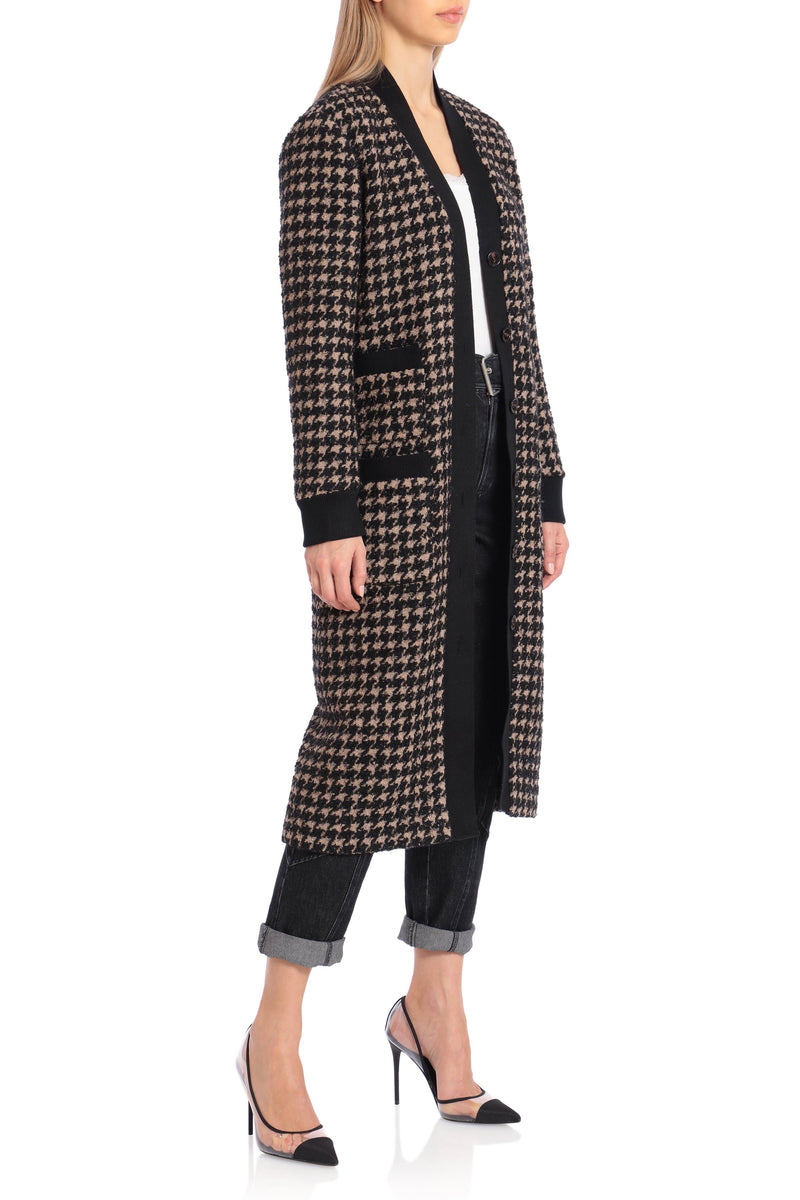 Houndstooth Wool Blend Tweed Cardigan Outerwear Avec Les Filles