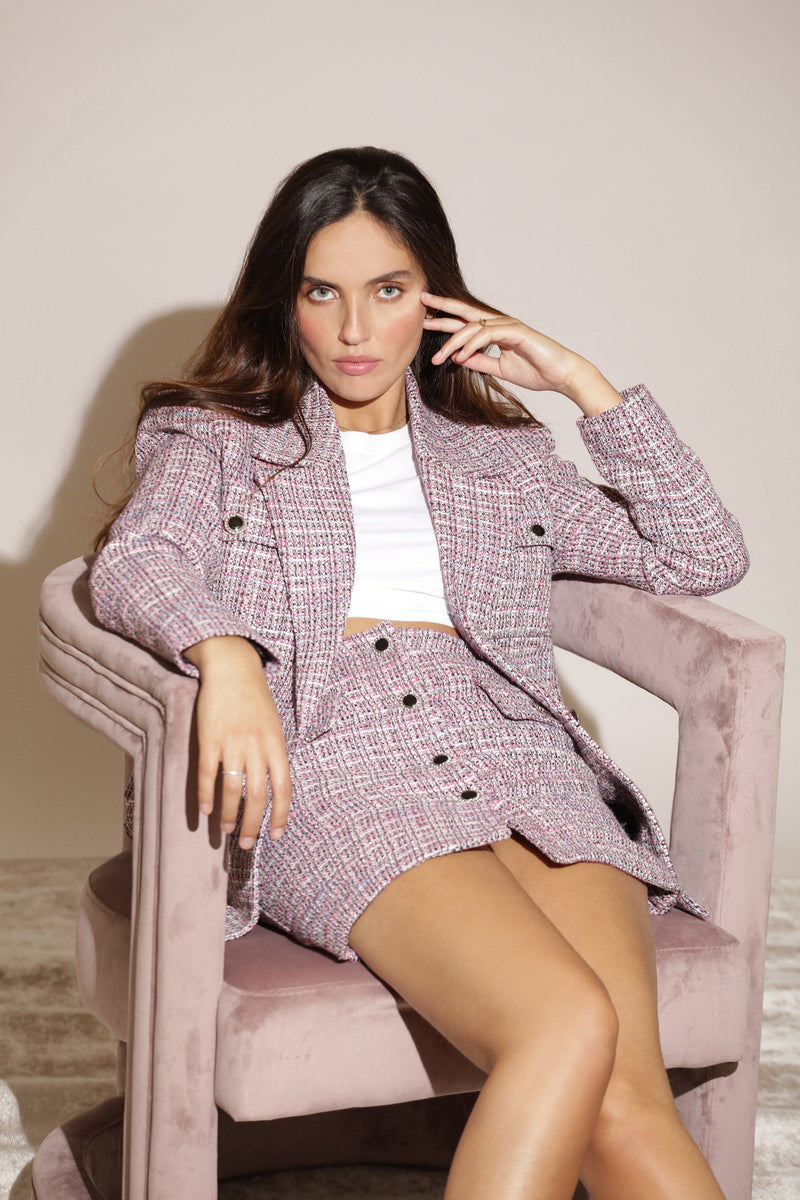 Single-Breasted Tweed Blazer Outerwear Avec Les Filles