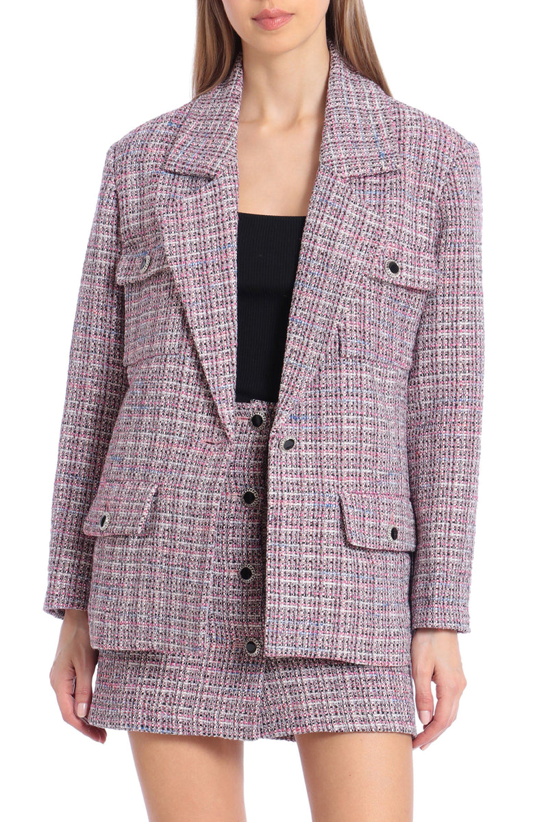 Single-Breasted Tweed Blazer Outerwear Avec Les Filles Pink Tweed L