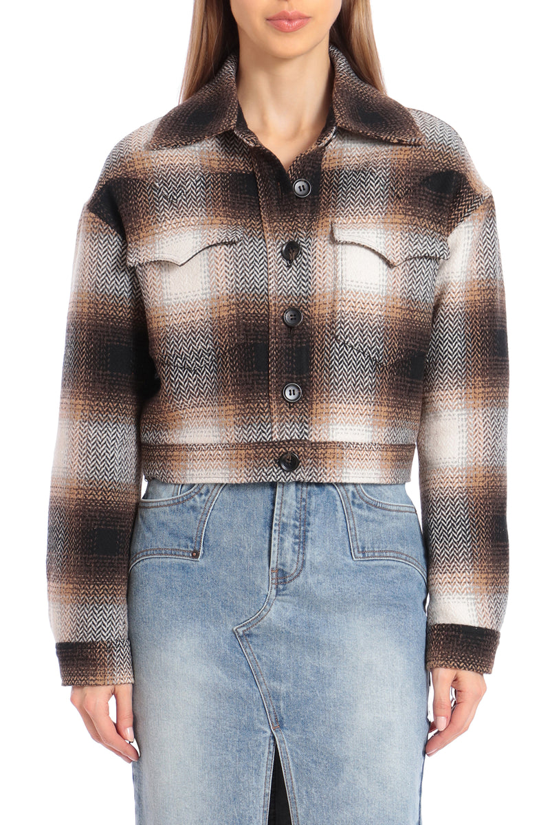Western Plaid Cropped Jacket Outerwear Avec Les Filles Camel/Black Plaid L