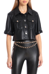 Cropped Vegan Leather Shirt Tops Avec Les Filles Onyx L